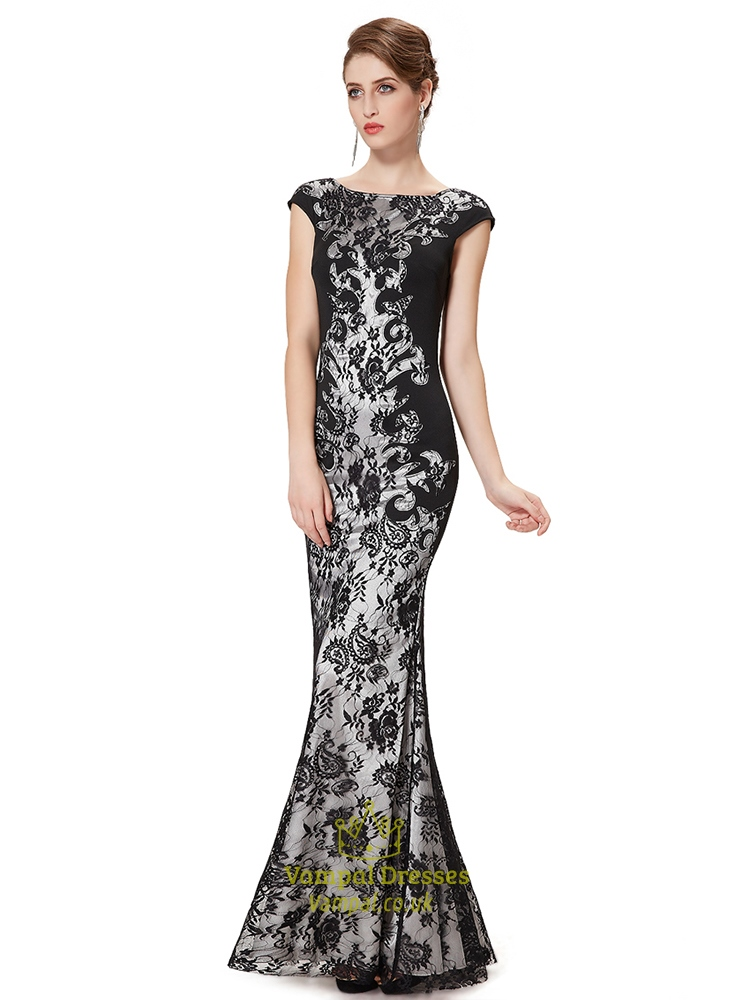 black lace mermaid prom dresses 2015long black lace