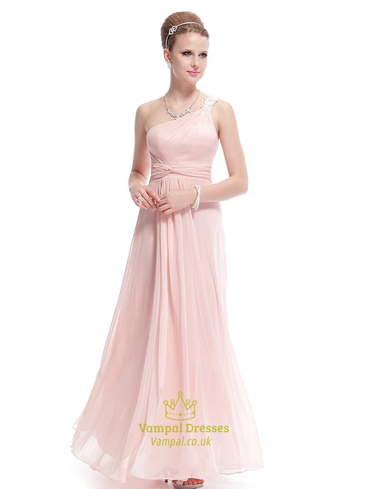Blush Pink One Shoulder Bridesmaid Dress,Petal Pink Bridesmaid ...