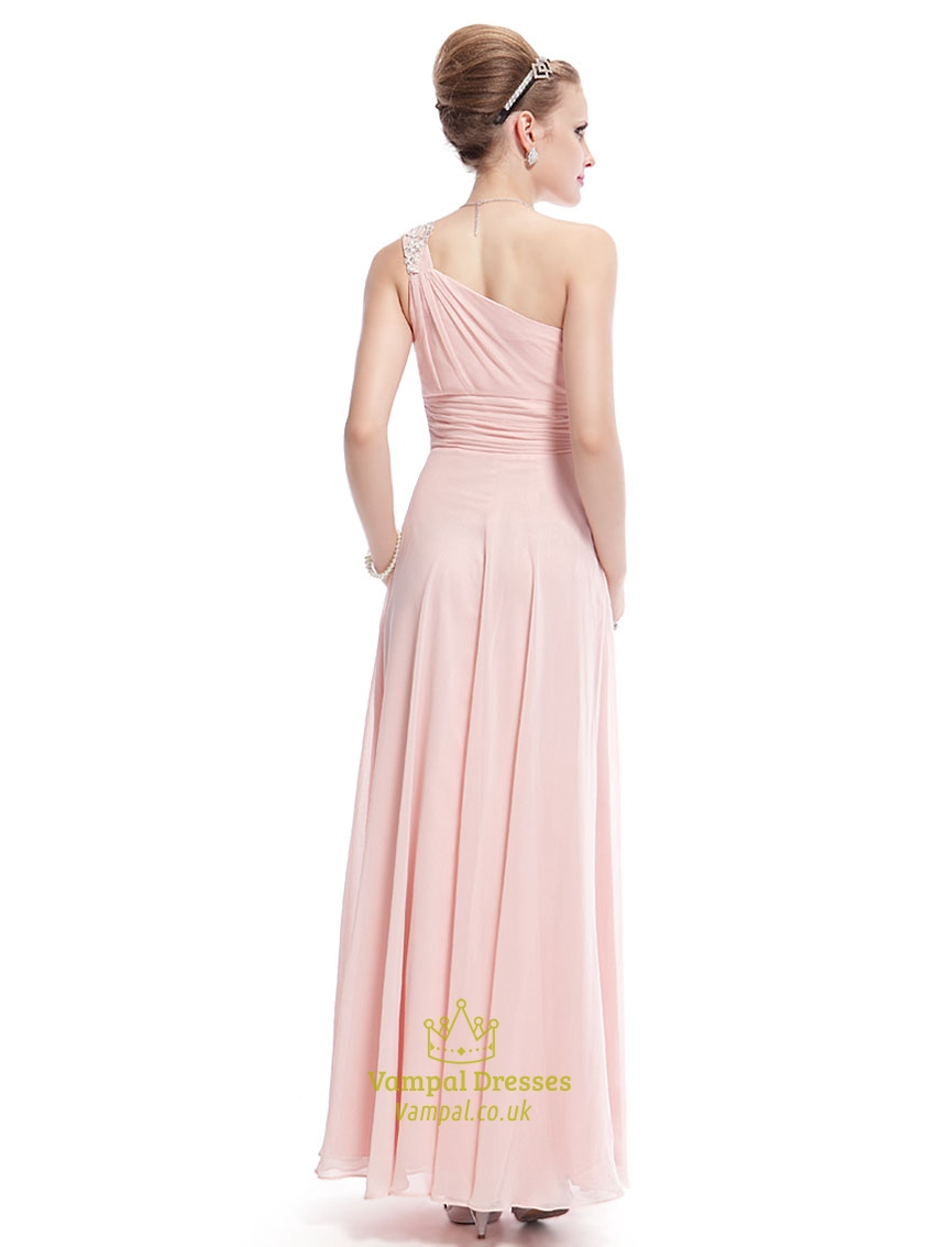 Blush Pink One Shoulder Bridesmaid Dress,Petal Pink ...