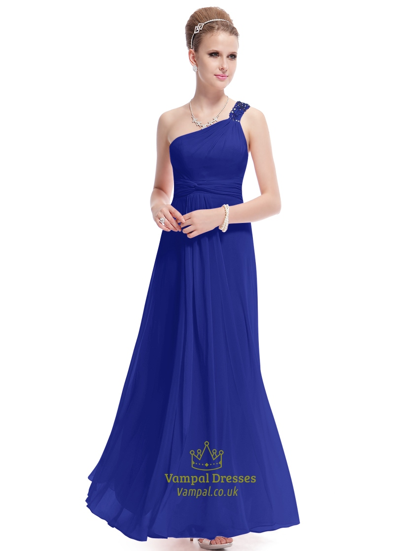 Royal blue one shoulder bridesmaid dress long royal blue for Long blue dress for wedding