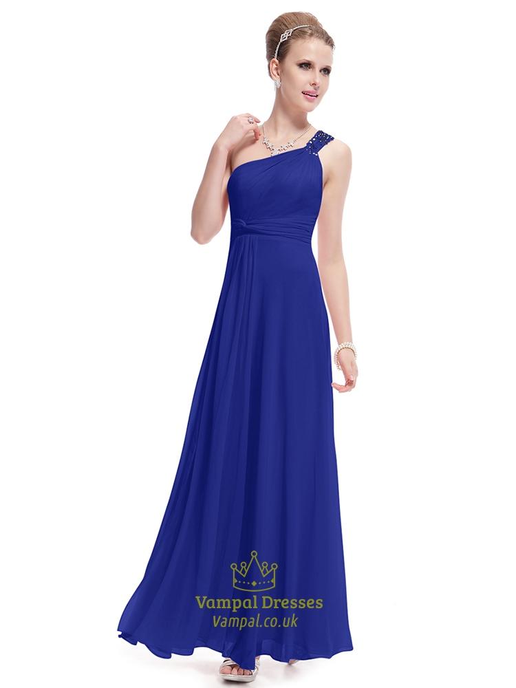 royal blue one shoulder bridesmaid dresslong royal blue