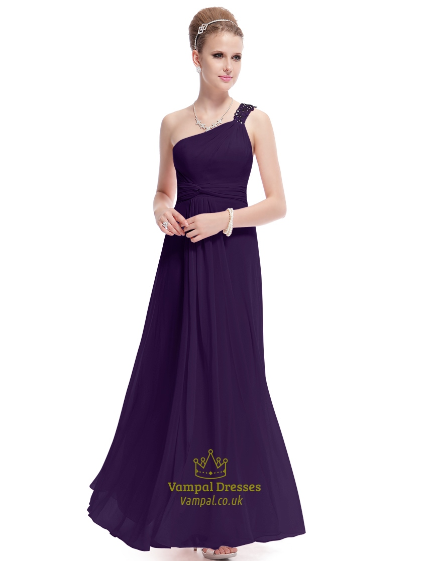 purple one shoulder long party dressesdark purple one