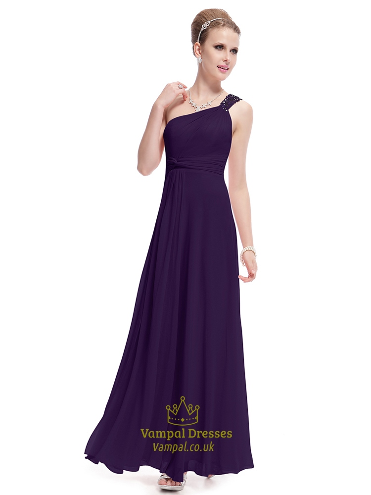 Purple one shoulder long party dresses dark purple one for Dark purple dress for wedding