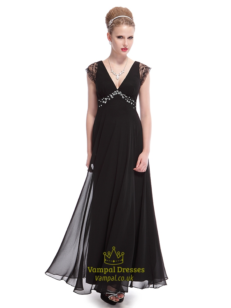 c16f56da3be1 Long Black V Neck Dress With Lace Cap Sleeves