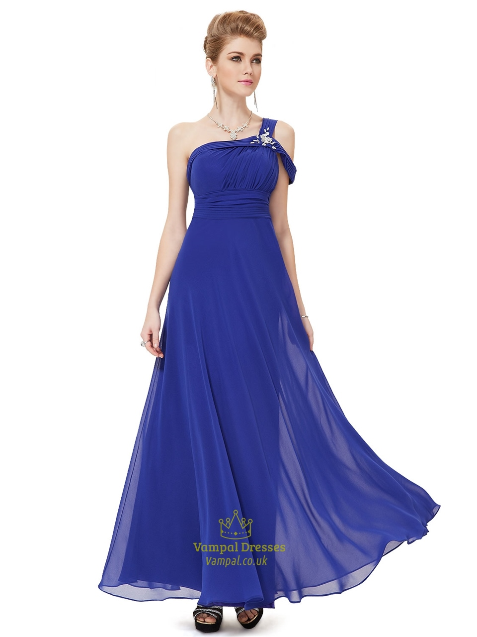 Royal Blue One Shoulder Prom Dress,Long One Shoulder Evening Dresses