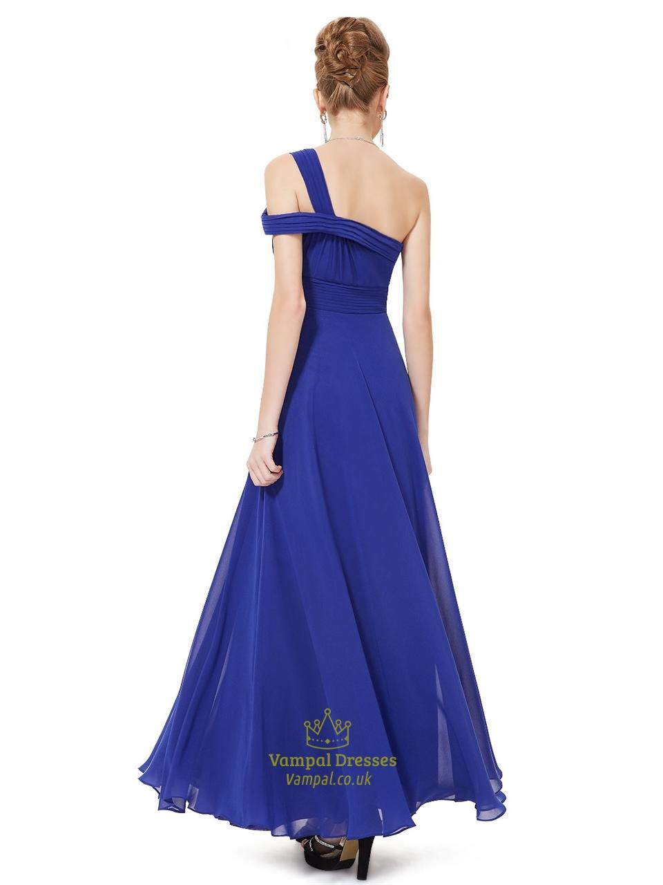 Royal Blue One Shoulder Prom Dress,Long One Shoulder ...