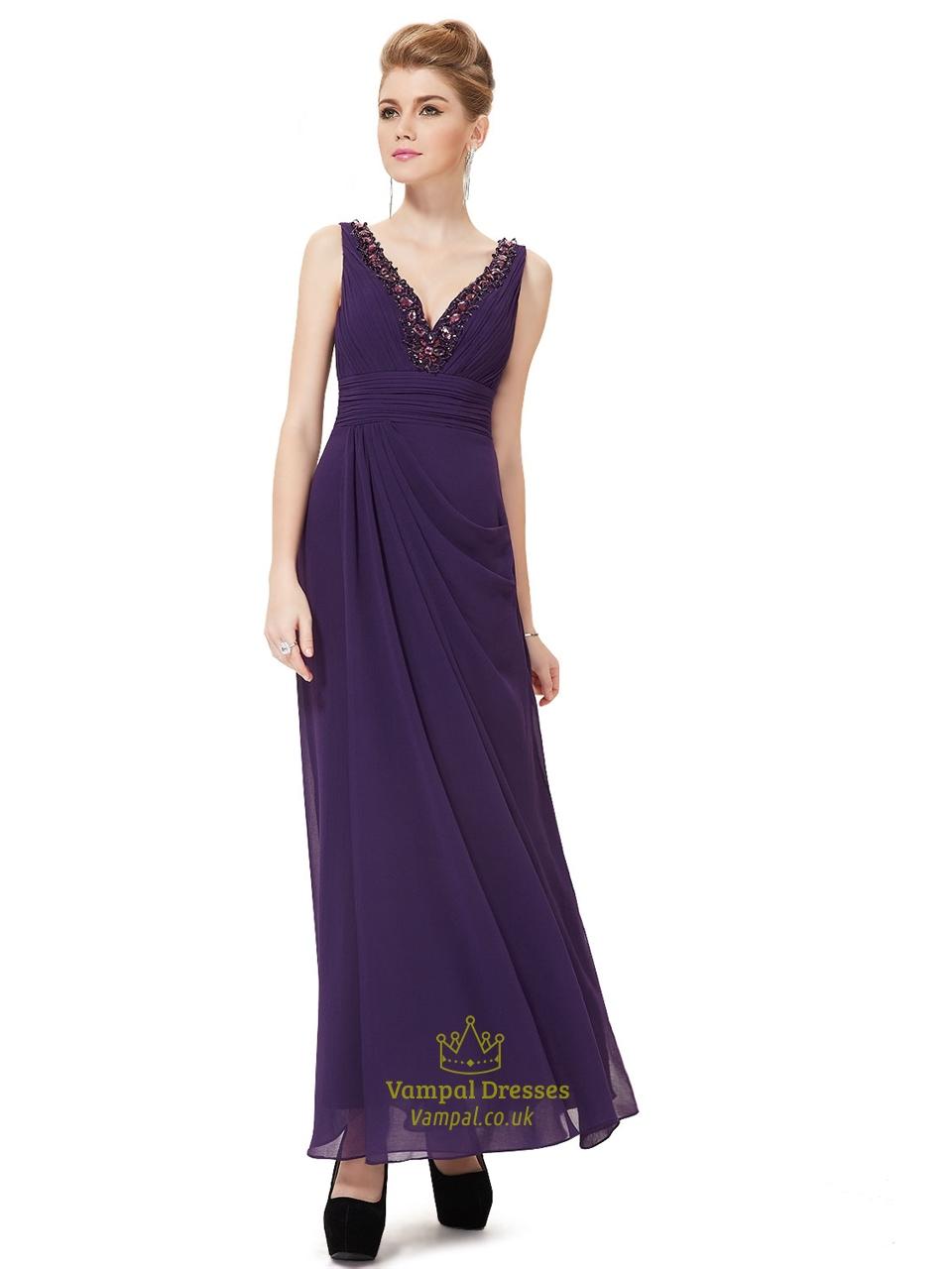 Long Dark Purple Prom Dresses 2015,Elegant V Neck Chiffon Dress ...