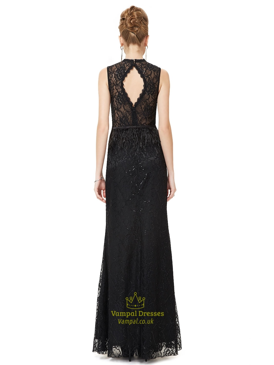 black lace prom dress floor lengthblack lace high neck