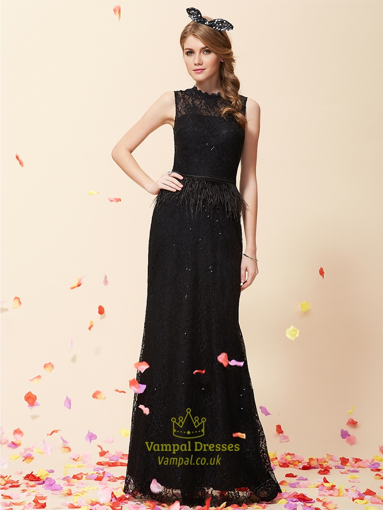 Black Lace Prom Dress Floor Length Black Lace High Neck
