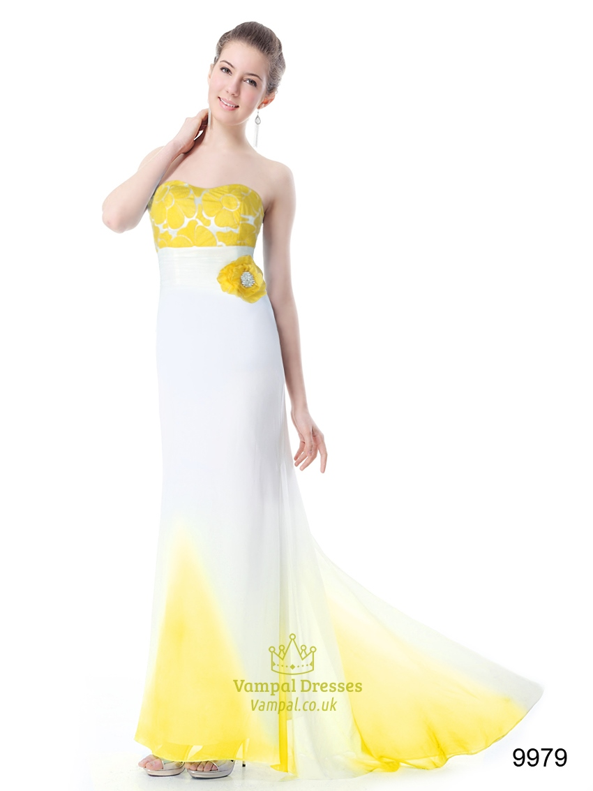 Yellow And White Prom Dresses 114