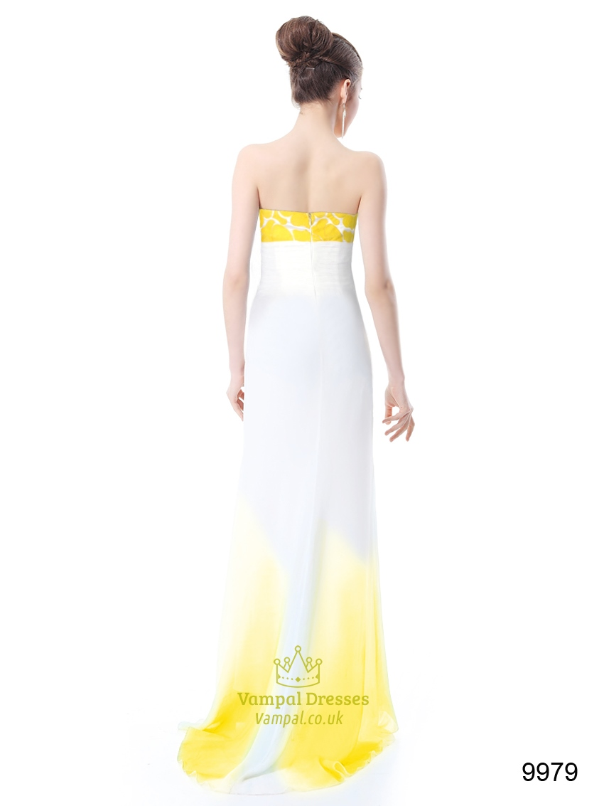 Yellow And White Prom Dresses 13