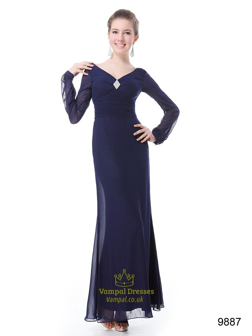 Navy long sleeve bodycon dress day