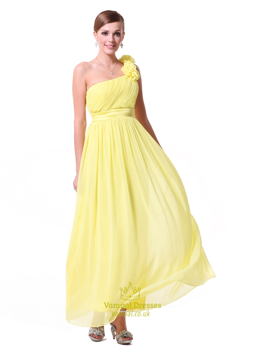 524cd9a047 Yellow One Shoulder Bridesmaid Dresses Chiffon