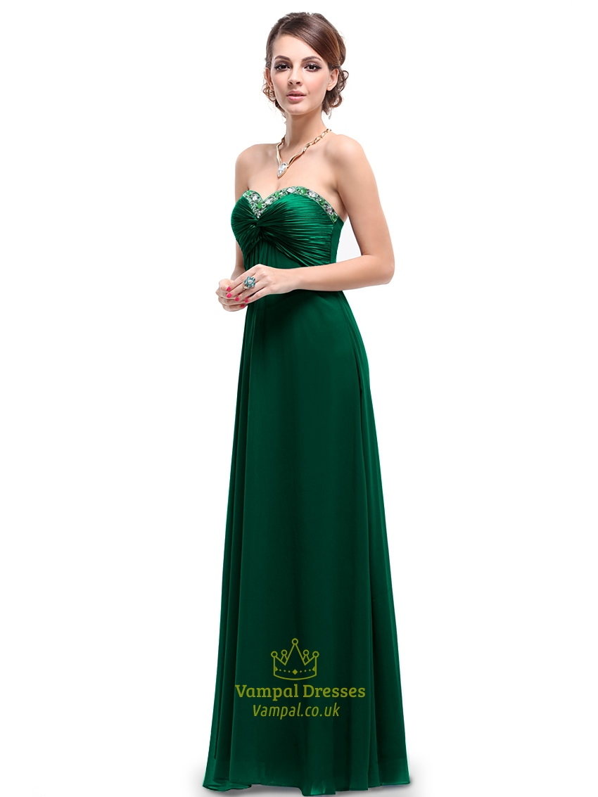 Dark emerald green bridesmaid dress