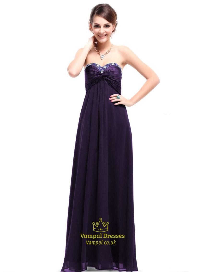 Dark Purple Bridesmaid Dresses Strapless Long Dark Purple Dresses