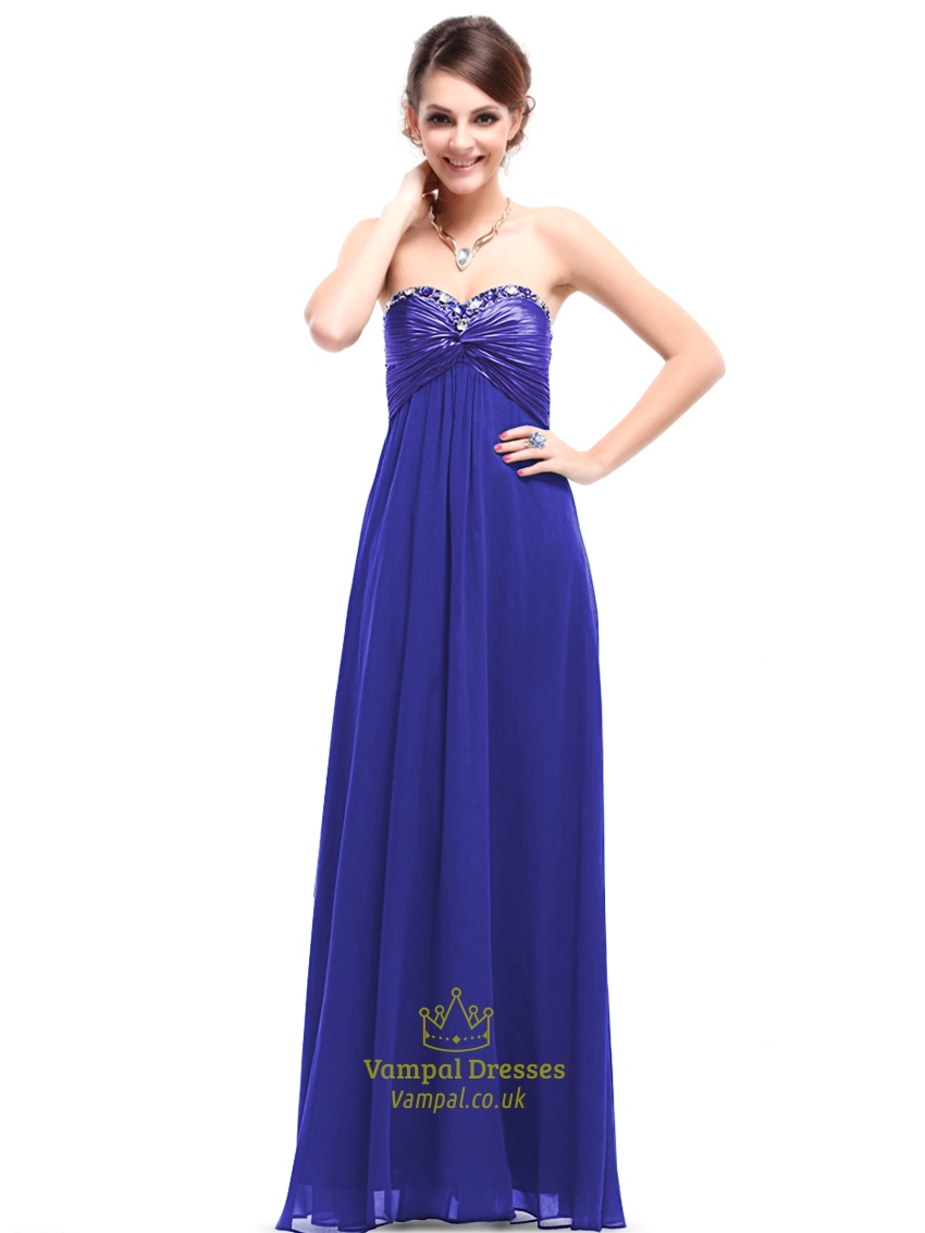 Royal blue bridesmaid dresses chiffon long strapless for Long blue dress for wedding