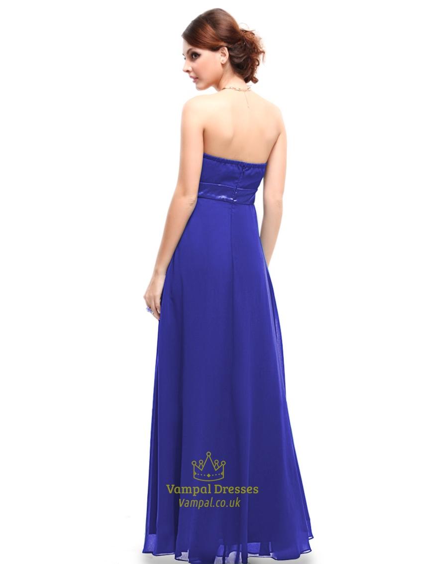 Royal Blue Bridesmaid Dresses Chiffon Long,Strapless Sweetheart ...