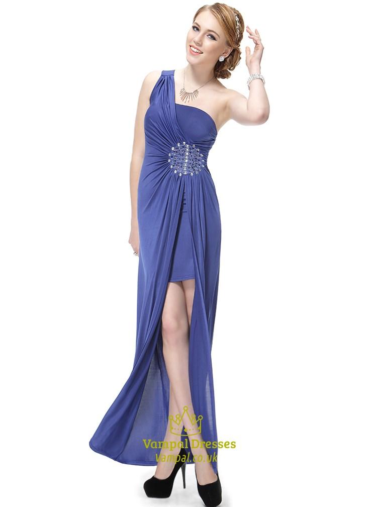 Blue One Shoulder High Low Dress,One Shoulder Prom Dresses 2018