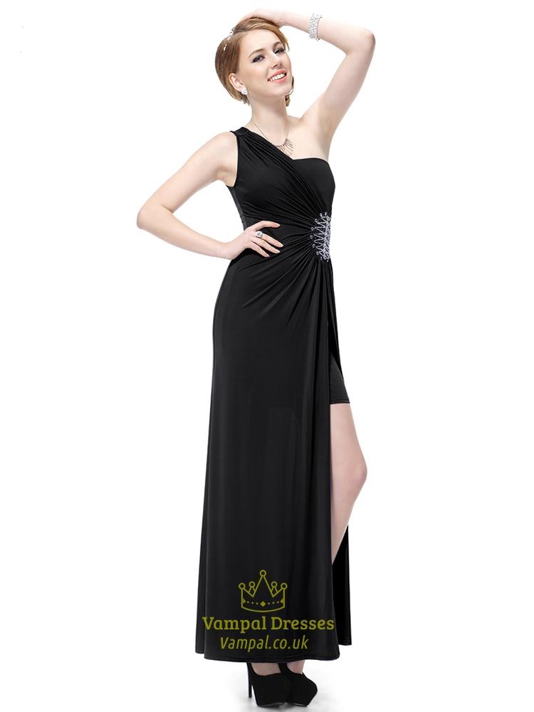 Black One Shoulder Prom Dresses 2015,Long Black One ...One Shoulder Black Prom Dresses