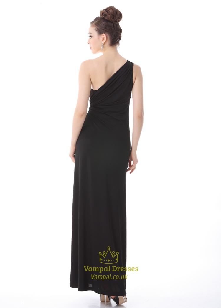 Black One Shoulder Prom Dresses 2015 Long Black One