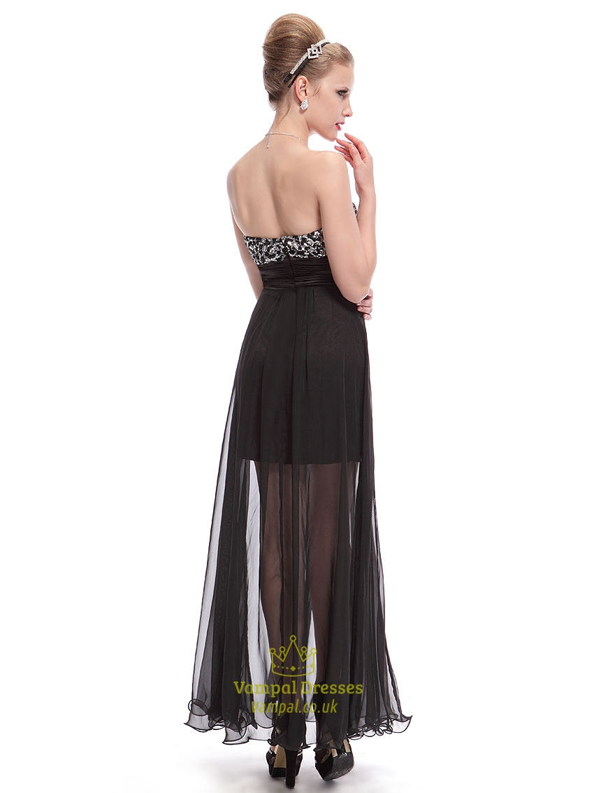 Short Black Sequin Dress With Chiffon Overlay Black Mini