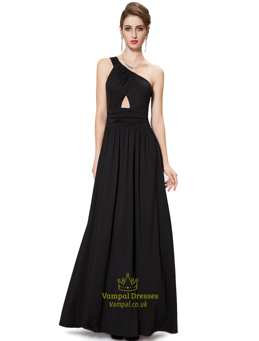 One Shoulder Long Black Dress,Black Floor Length Maxi Dress | Vampal ...