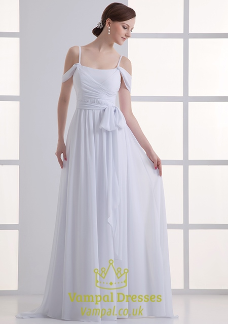 933f072e7fe White Off The Shoulder Top Chiffon Prom Dresses,White Chiffon Dress With  Spaghetti Straps SKU -CF640
