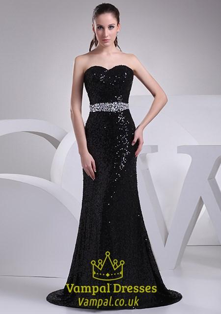 b86d4458ca1 Black Sequin Mermaid Prom Dress