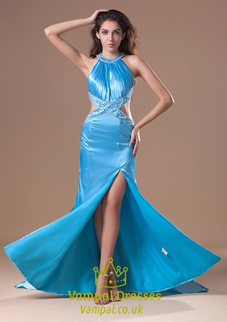Blue Prom Dresses With Open Back,Light Blue Evening Gown With Crosses Back On Them