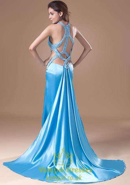 Blue Prom Dresses With Open Back Light Blue Evening Gown