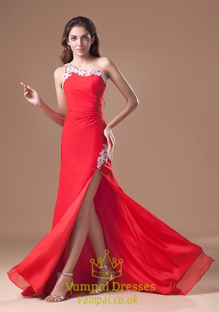 f28e6f9b7a9 Red One Shoulder Prom Dresses With Side Split Cutouts,Long Red Dresses With  Slits SKU -CD0910