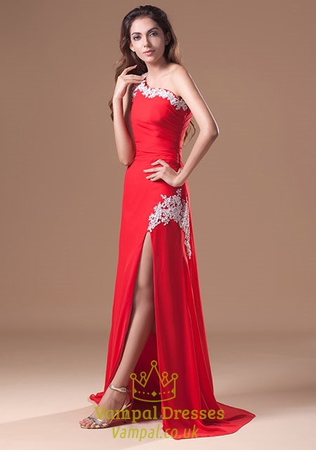 Red Split Prom Dresses with Cutouts