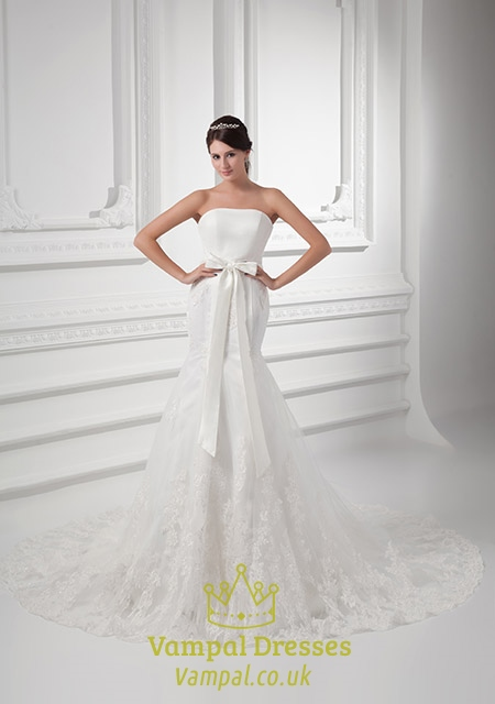 Strapless Lace Wedding Dress With Bow Lace Top Satin