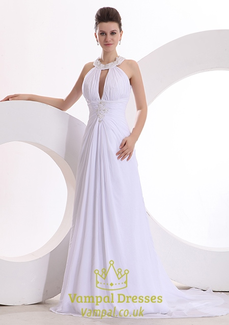 Halter Wedding Dresses With Low Back Simple High Neck Halter Wedding Dresses