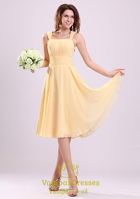 Pale Yellow Bridesmaid Dresses UK,Yellow Chiffon Bridesmaid Dresses With Straps | Vampal Dresses