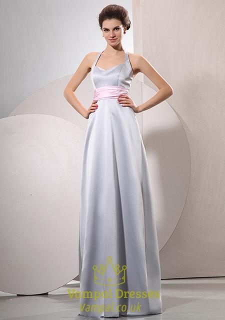 Silver Grey Halter Neck Prom Dress,Formal Prom Dresses Halter Neck ...
