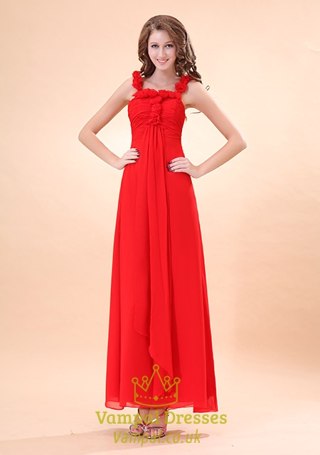 Red Dress With Flowers Over One Shoulder,Long Red Chiffon Prom Dress With Straps