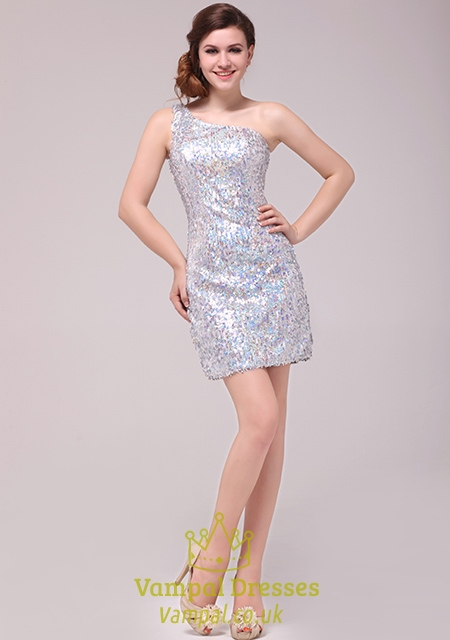 Sequin One Shoulder Cocktail Dress By Vampalsilver Sequin One