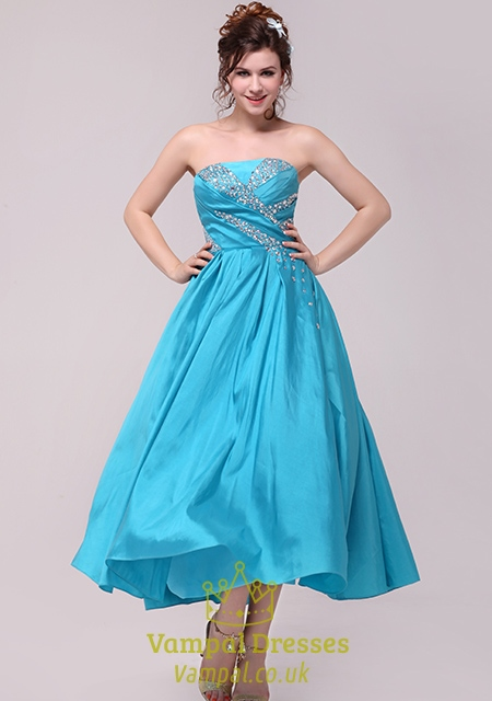 Aqua Blue Prom Dresses 2018,Light Sky Blue Strapless Prom Dress Evening Gown