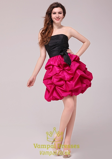 Hot Pink And Black Cocktail Dresses - Boutique Prom Dresses