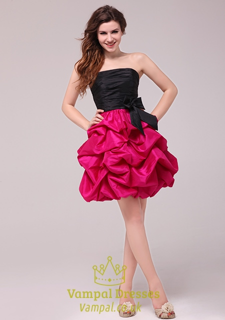 hot pink and black homecoming cocktail dressesblack top