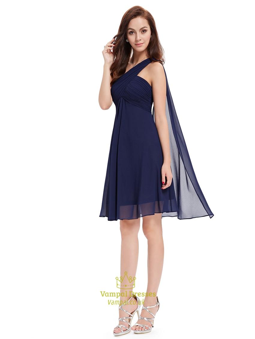 Navy Blue One Shoulder Chiffon Short Bridesmaid Dress With Watteau ...