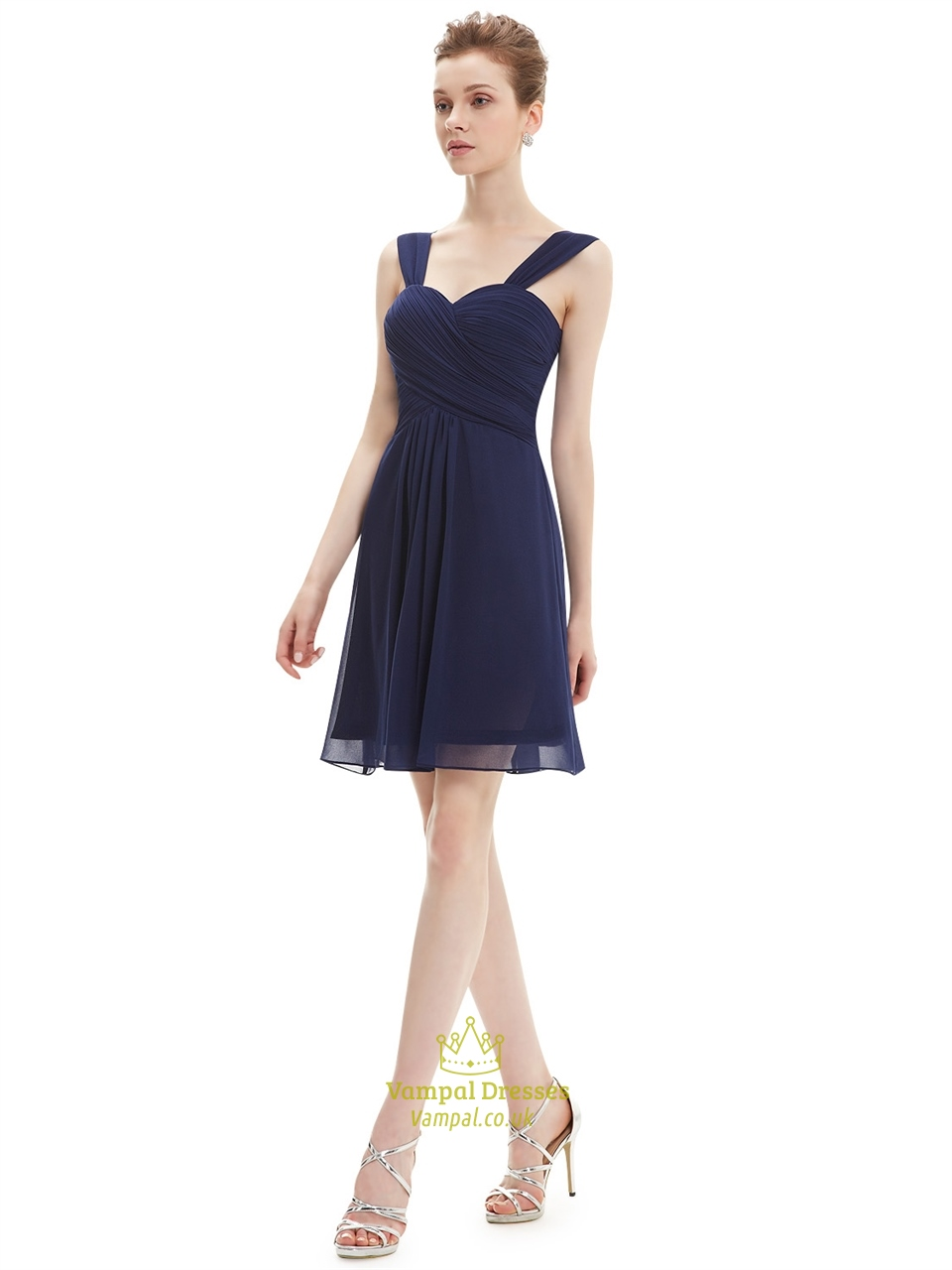 92d6377b68e2 Navy Blue Chiffon Ruched Bodice Short Bridesmaid Dress With Straps SKU  -NW1167
