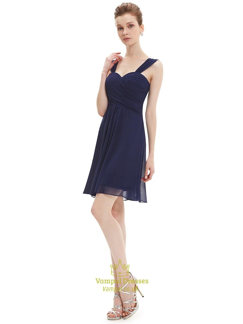 Navy Blue Chiffon Ruched Bodice Short Bridesmaid Dress