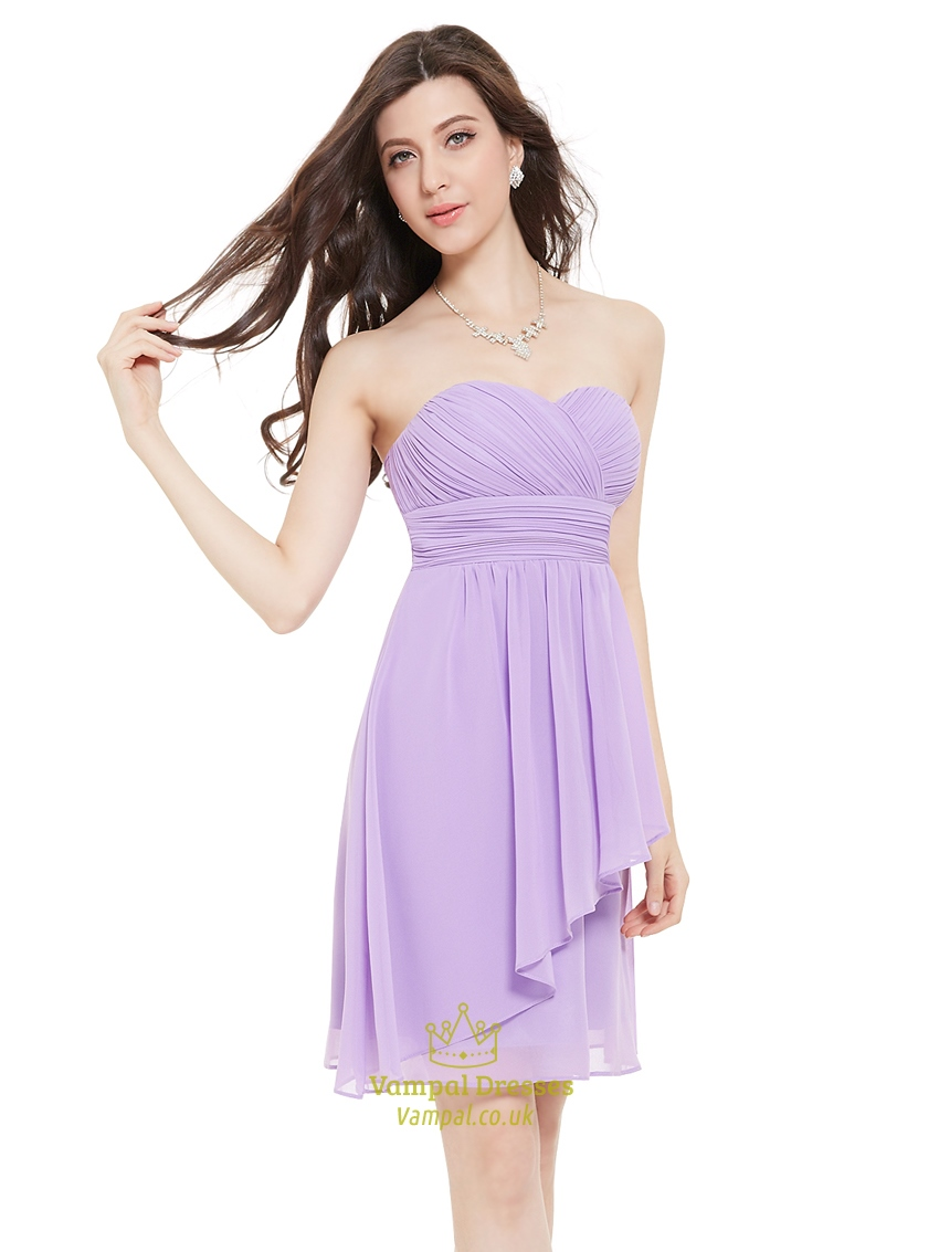 lilac chiffon strapless sweetheart bridesmaid dresses with