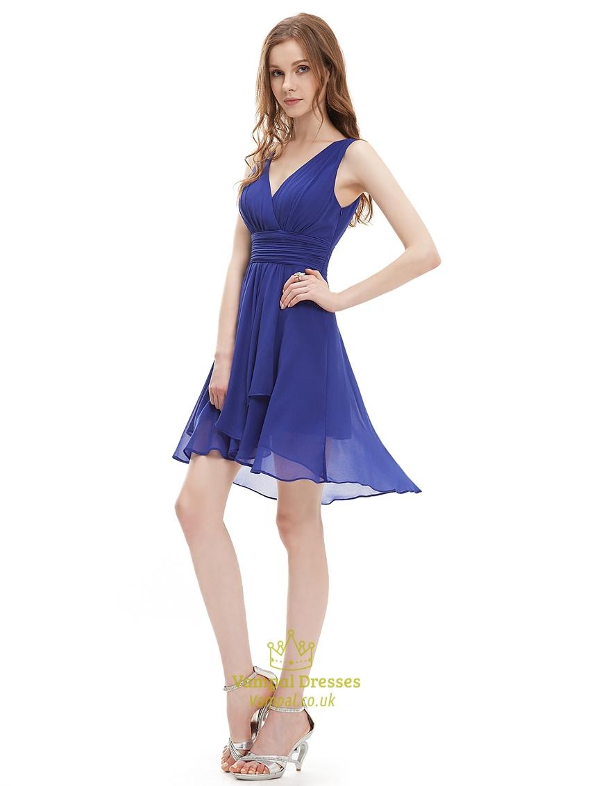 9ea0bdb445f Royal Blue V Neck Asymmetrical Hem Short Chiffon Bridesmaid Dresses ...