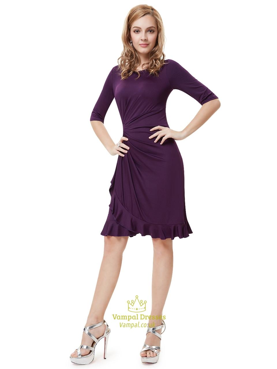 Grape Sheath Chiffon Knee Length Cocktail Dresses With Half Sleeve | Vampal Dresses