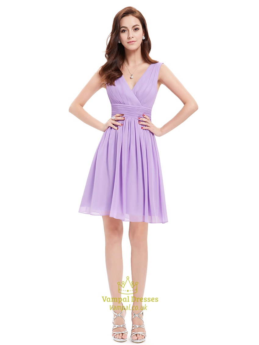 Lilac Chiffon V Neck Knee Length Bridesmaid Dresses For Outside ...