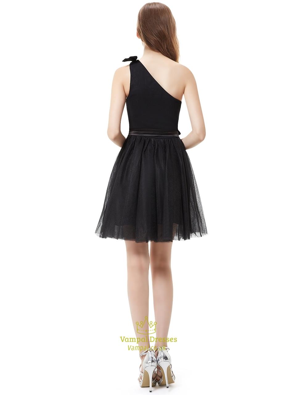 Little Black One Shoulder Tulle Short Cocktail Dress With