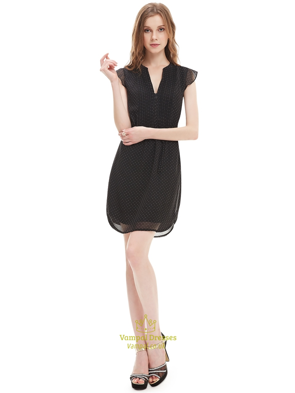 Black Chiffon Summer Womens Semi Formal Dresses With Cap Sleeve
